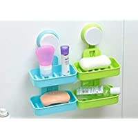 finebasket (LABEL) Double Layer Soap Box Suction Cup Holder Rack Bathroom Shower Soap Dish Hanging Tray Wall Holder Storage Holders