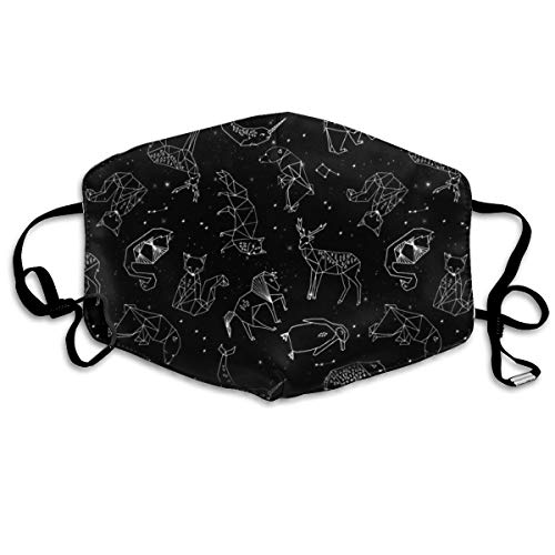 Constellations Black and White Kids Nursery Baby Geometric Animals Anti Dust Mask Anti Pollution Washable Reusable Mouth -