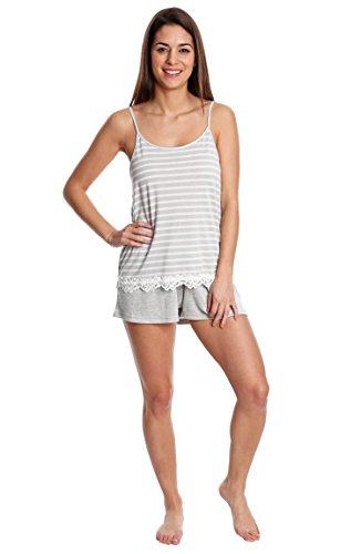ace Trim Cami with Hacci Short Sleepwear Set - Grey and Ivory Stripe W. Grey, Small (Lace Trim Mesh Cami)