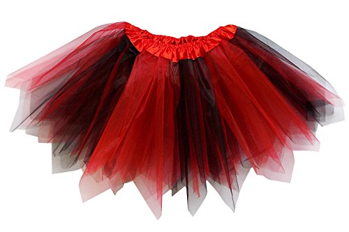 So Sydney Adult Plus Kids Size Pixie Fairy Tutu Skirt Halloween Costume Dress Up (XL (Plus Size), Red & Black)