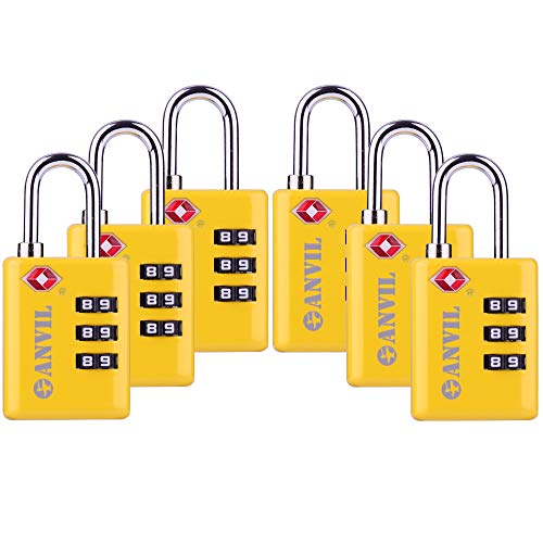 - TSA Approved Luggage Locks,(1 PACK) - Open Alert Indicator 3 Digit Combination Padlock Codes with Alloy Body for Travel Bag, Suit Case, Lockers, Gym, Easy Read Dials-Yellow (C117YELLOW6)