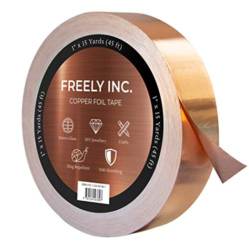Freely Copper Foil Tape with Conductive Adhesive - 1 Pack (1inch x 45ft) - Slug Repellent, EMI Shielding, Crafts, DIY Projects, Stained Glass - Best Quality, Great Price ()