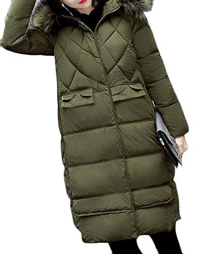 Pockets Padded Long Faux Jacket Down Fur EKU 1 Coat Womens Warm Quilted Hood nFC1xn0fqw
