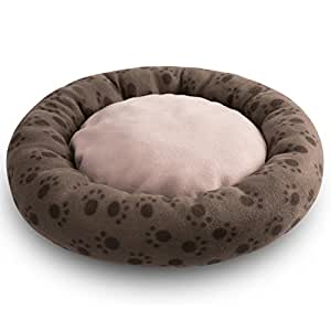 Hollypet Self-warming Soft Comfortable Round Medium Cat Bed Dog Pet Bed Mat, Brown