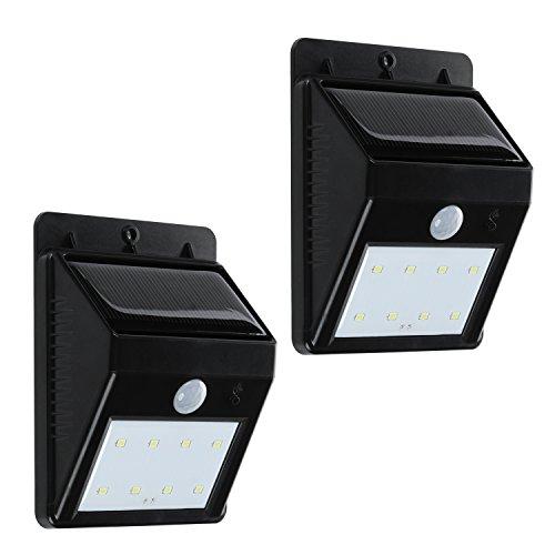 Solarleuchte x2 - TURATA Garten Solarlampe mit 8 LED Außenbeleuchtung mit Bewegungsmelder, Wasserdichte Wetterfeste Drahtlose Beleuchtung für Außenwand, Hof, Patio, Terrasse