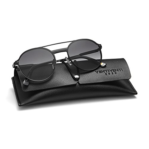 2020Ventiventi Vintage Sunglasses for Women/Men Round Lens Double Bridge Metal Frame with Sun Glasses Case UV400 for Steampunk 17003C02 (Black, - For Face Male Shaped Sunglasses Oval