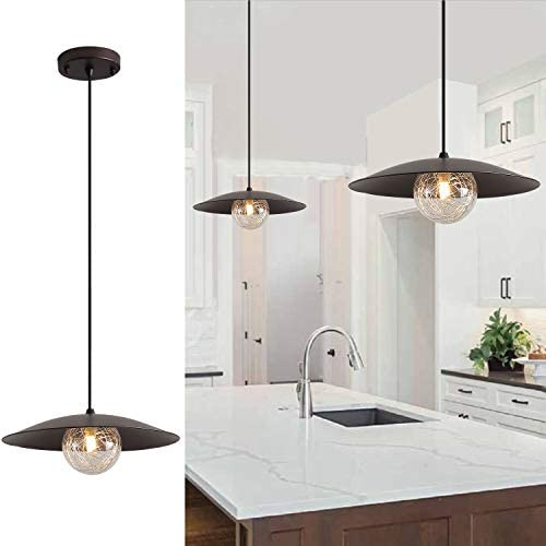 Fivess Lighting Modern Industrial Pendant Lighting with Bulbs, One-Light Glass Hanging Light Fixture for Kitchen Island Dining Room Table Farmhouse, Oil Rubbed Bronze