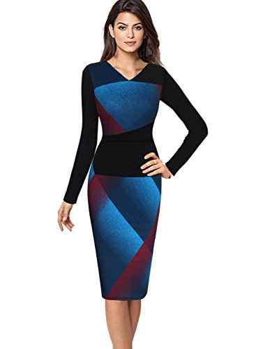 Vfemage Womens Elegant Contrast Geometric Slim Work