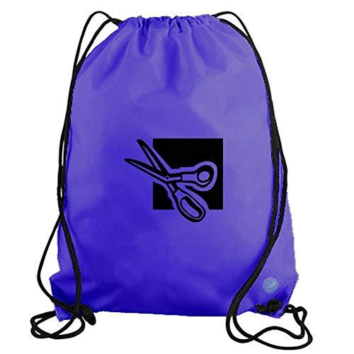 Scissors Drawstring Gym Bag workout cinch nylon backpack (purple) - Scissors Purp