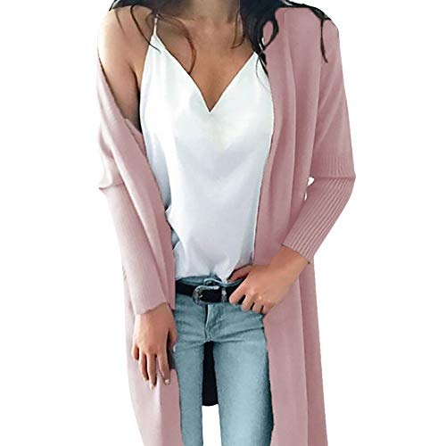Femme Hiver Pull Tricot Cardigan Tops,Mode Solide Manche Longue Pull Tricot Cardigan Manteau avec Poche Rose