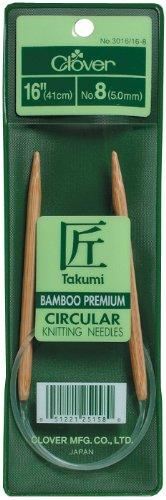 Clover Takumi Bamboo Circular 16-Inch Knitting Needles, Size 15 ()