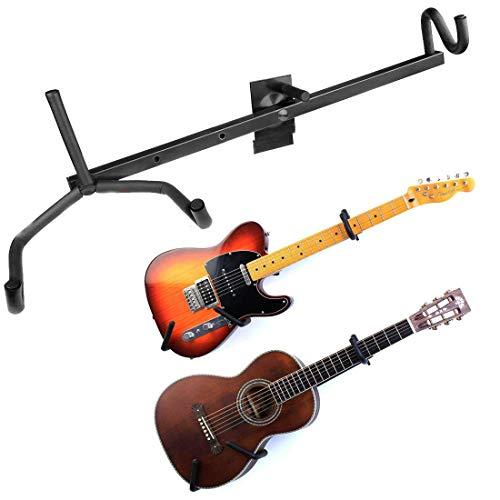 HRB MUSICALS® Guitar Wall Mount Acoustic/Electric/Classical Guitar, Ukulele, Banjo and Mandolin Wall Hanger Slat Wall Horizontal Guitar Holder Bass Stand Rack Hook