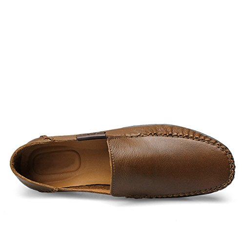 Shenn Menns Skli På Flat Tilfeldig Skinn Loafers Sko Khaki