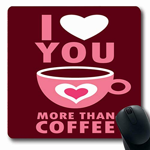Ahawoso Mousepads for Computers Graphic Brown Afternoon Love You More Than Coffee Sweet Food Drink Aroma Beverage Border Breakfast Oblong Shape 7.9 x 9.5 Inches Non-Slip Oblong Gaming Mouse Pad