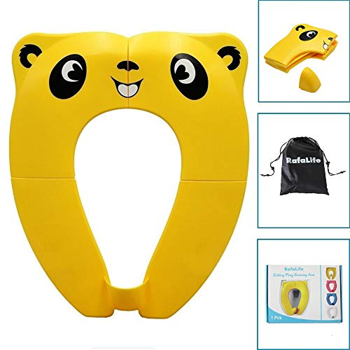 E3 Travel Bag - RafaLife - Portable Toilet Training Seat for Toddlers, Boys & Girls. Large Upgraded Folding Travel Potty Seat. Extra Stable, Powerful and Safe, with Handy Carry Bag - Yellow Panda