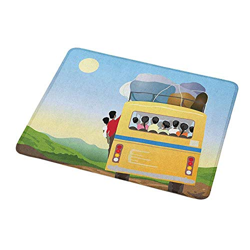 Rectangle Mouse pad Cartoon,Yellow Bus Full of Passengers and Luggage Driving in Asian Meadows Warm Spring Day,Waterproof Material Non-Slip Personalized Rectangle Mouse pad 9.8