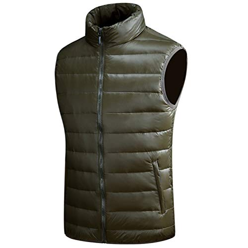Winter Warm Down Autumn Casual Male White Duck Down Parka Sleeveless Jacket,Army Green Vest,XXXL