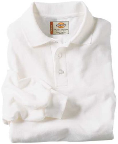 Dickies KL5452 Adult Size Long Sleeve Pique Polo Shirt White size (Dickies Cotton Polo Shirt)