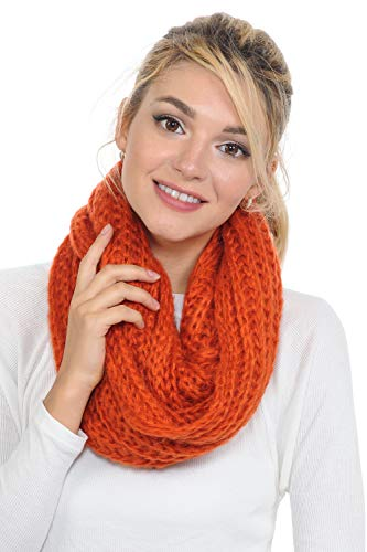 Basico Women Warm Circle Ring Infinity Scarf Neck Warmer Various Colors (S8 Pumpkin Spice)