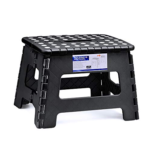 ACSTEP Acko Folding Step Stool for Kids 9Inch Tall 11Inch Wide Foldable Step Stool Black