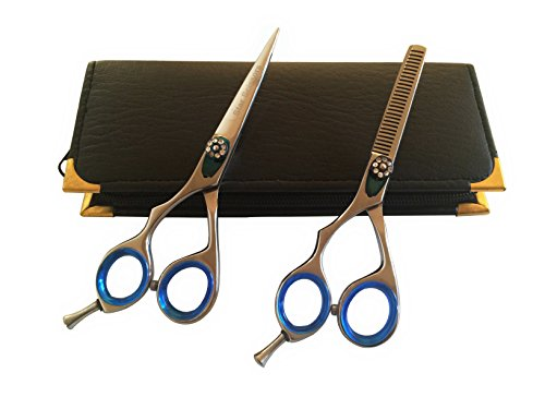 Left Handed Professional Hairdressing Lefty Barber Salon Scissors Cutting Plain Thinner Shears Blue Ringed Set 5.5
