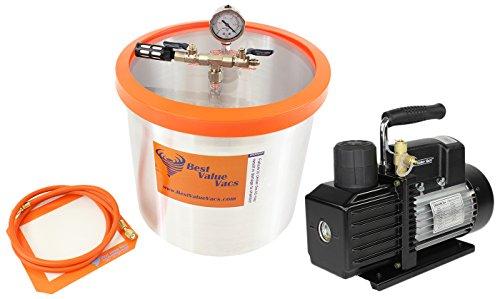 Best Value Vacs 5 Gallon Aluminum Vacuum Chamber and VE225 4CFM 2 Stage Vacuum Pump Kit
