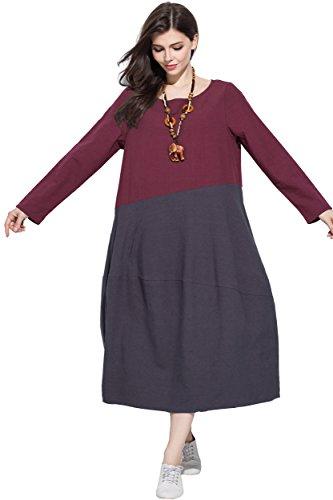 Anysize Linge Doux Et Le Printemps Coton Robe D'automne, Plus Robe Taille Bordeaux Et Gris Y159
