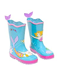 KIDORABLE Blue Mermaid Rubber Rain Boots with A Fun Fishtail Pull On Heel Tab