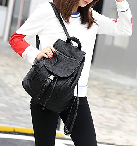 Cuir DEERWORD Femme Sacs V1 main portés portés Faux Blanc Sacs Sacs Noir bandoulière dos SSag8r