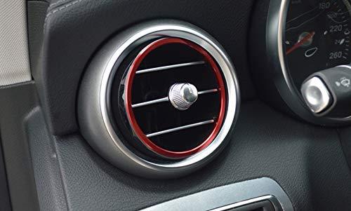 Aleaci/ón de aluminio rojo Air Vent Outlet Anillo Cover Trim 7pcs para coche accesorios