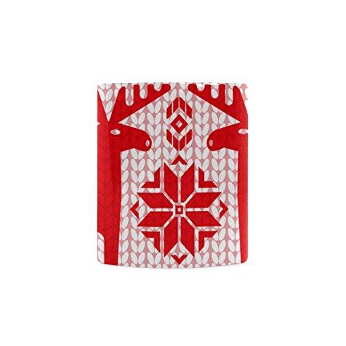 [Xmas Christmas Reindeer White Ceramic Coffee Mug Tea Cup] (Shredder Costume Pattern)