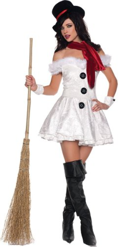 Underwraps Costumes  Women's Snow'd In, White/Black/Red, Medium - Snowed In Costumes