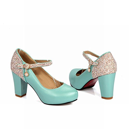 Mary Bridal Blue Heel High Women's Party Carolbar Buckle Shoes Sequins Janes nqwOFBH0