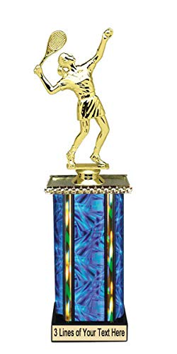 Express Medals 10 Inch Girls Tennis Blue Column Trophy with Engraved Personalized Plate on Marble Base - Engraved Tennis Medal