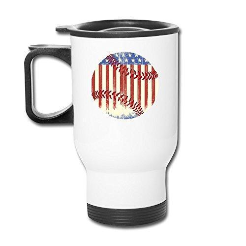 Vintage American Baseball Aluminum White Travel Mug, 12 Ounces