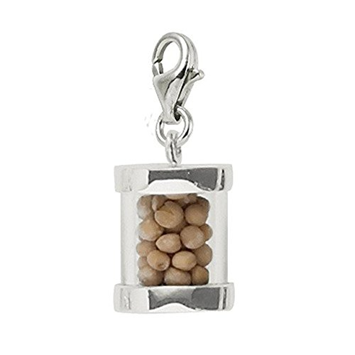 (Sterling Silver Mustard Seeds Charm With Lobster Claw Clasp, Charms for Bracelets and)