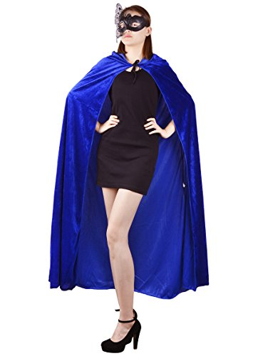Blue Hooded Cape Costume (Womens Velvet Hooded Cloak Costumes Halloween Wizard Hooded Party Cape (Blue))