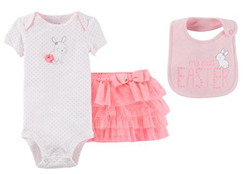 Just One You by Carters Baby Girls My First Easter Bodysuit with Tutu and Bib Set (3 Months, Pink and White with Bunny)