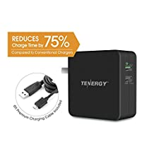 Tenergy 30W 2 Port Adaptive Fast USB Wall Charger Qualcomm Quick Charge 2.0 Smart Detect - Galaxy S6 / Edge / Plus, Note 5 / 4, LG G4, HTC One M8 / M9, Nexus 6, iPad, iPhone & More (Black)