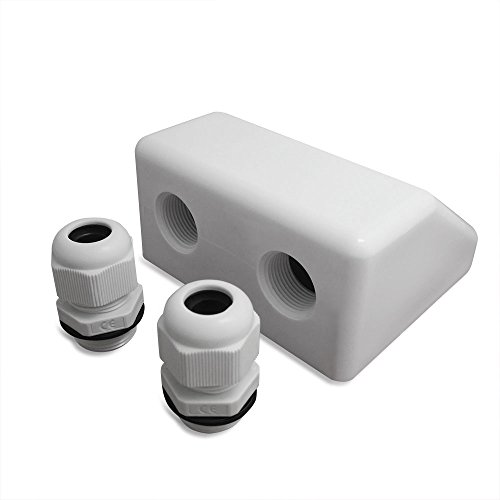 NUZAMAS Waterproof Twin /Double Cable Entry Gland Box for Solar panel Satellite Aerial Caravan Motorhome RV Camping Van Boat UV-resistant -White by NUZAMAS