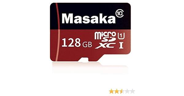 Masaka - Tarjeta Micro SD de Alta Velocidad Clase 10 Micro SD SDXC con Adaptador Negro marrón 128 GB