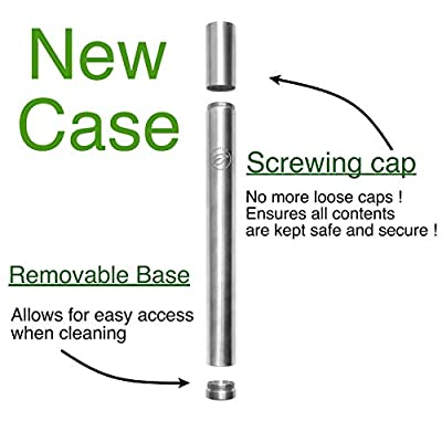 Reusable Straws with Case | Stainless Steel Straws Portable & Washable | Eco Travel Straw | Metal Straw Set (4 Drinking Straws + 2 Cotton Cleaning Brushes + 2 Travel Cases) by Leafico