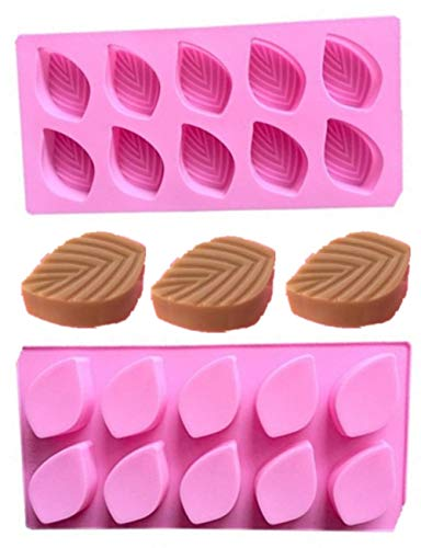 - 2Pack 10-Cavity Leaf Silicone Soaps Mold By Garloy, The Leaves Silicone Mold for Making Homemade Chocolate Candy Gummy Jelly