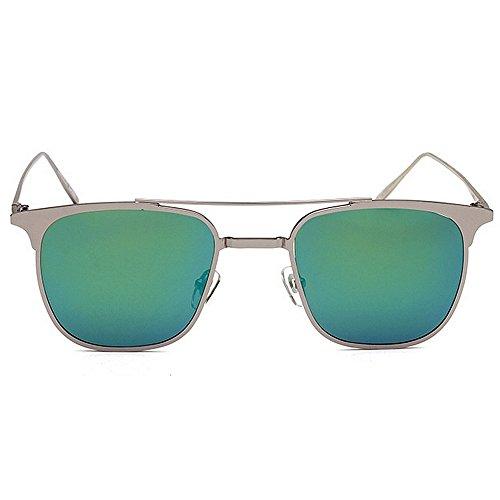 rayos del diseñador que los protección Gafas de Regalo tonos la del sol de estilo de Novedad los de personalidad sol día de conducen la hombres Verde de sol de Bril polarizadas padre del metalizadas gafas qCd4W