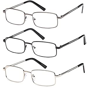 GAMMA RAY 3 Pairs Rectangle Stainless Steel Metal Reading Glasses - 3.00x