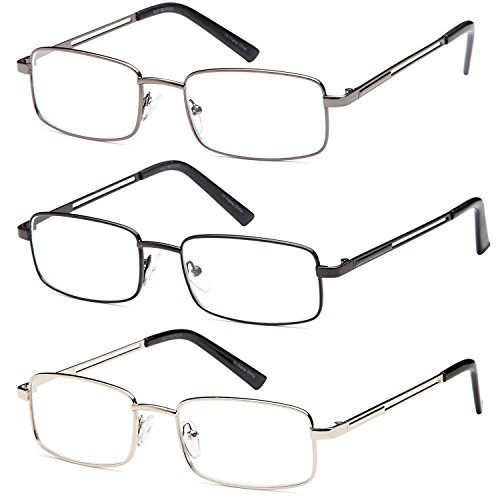 Gamma Ray Men's Reading Glasses - 3 pc Stainless Steel Flex Readers for Men - 3.00