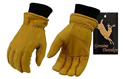 M-Boss-Men's Tan 40 Gram Thinsulate LINED Full Grain Deerskin Gloves