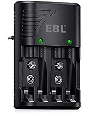 EBL acculader voor Ni-MH AA/AAA accu 9 V accu snellader 4 vaks batterijlader voor oplaadbare batterijen snel opladen met LED-display