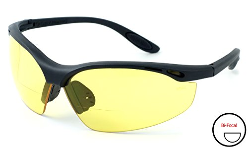 Calabria 91348 Bi-Focal Safety Glasses UV Protection in Yellow - Safety Reading Glasses Bifocal