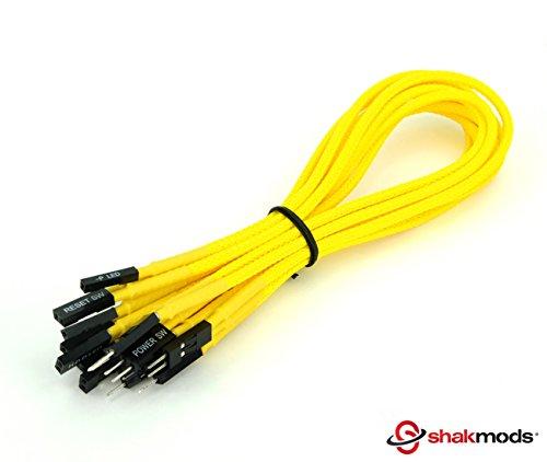 /Cable de extensi/ón shakmods 30/cm panel frontal amarillo manga Potencia Reiniciar HDD LED altavoz /